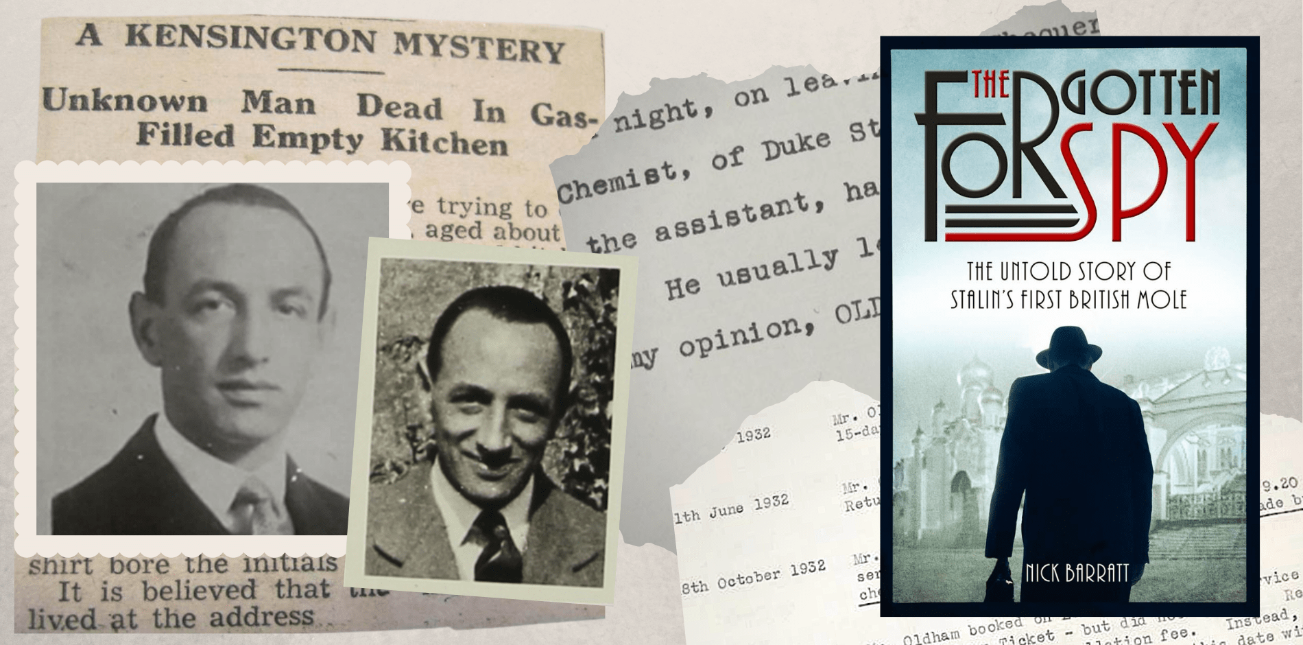 collage of black and white image of Nick's great uncle and Nick's book cover