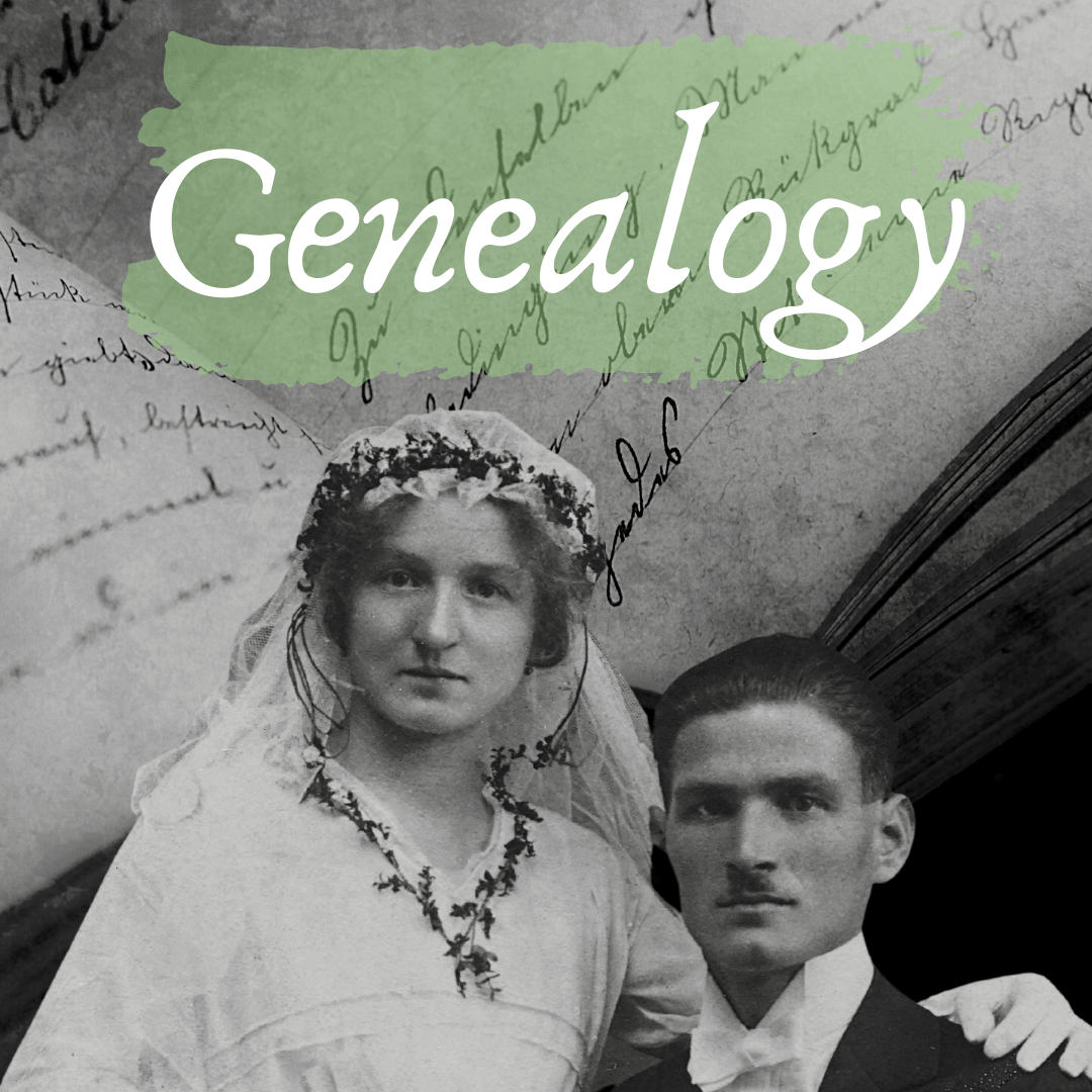 genealogy title with black and white image of couple