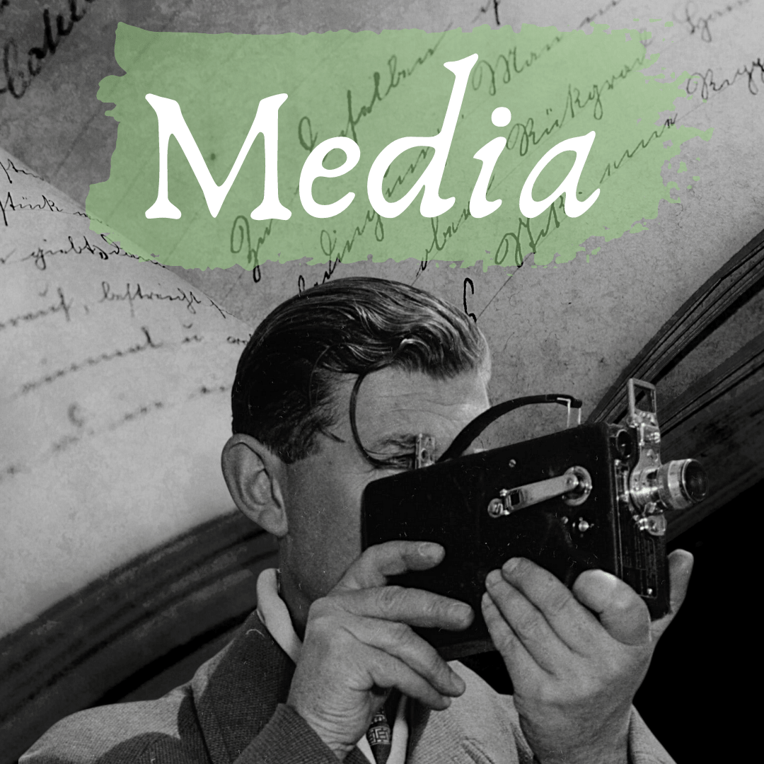 media with black and white image of photographer and his camera